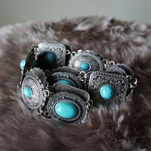 Vintage Turquoise Faux Stone Bead Metal Alloy Belt